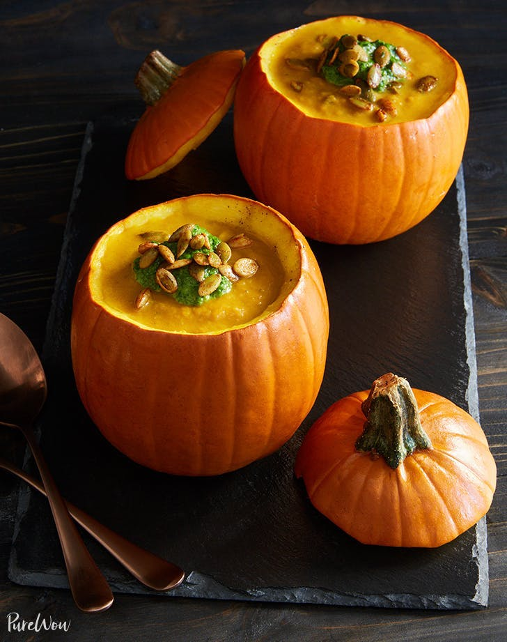 pumpkin soup in pumpkin bowls halloween party recipes