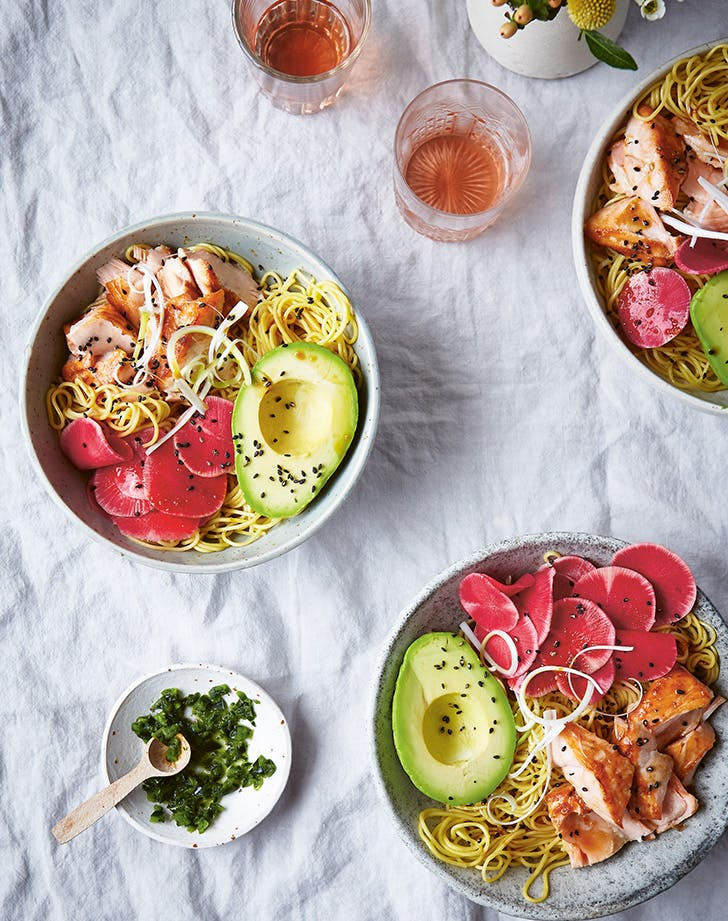 Salmon Noodle Bowls with Chili-Yuzu Relish and Pickled Radishes