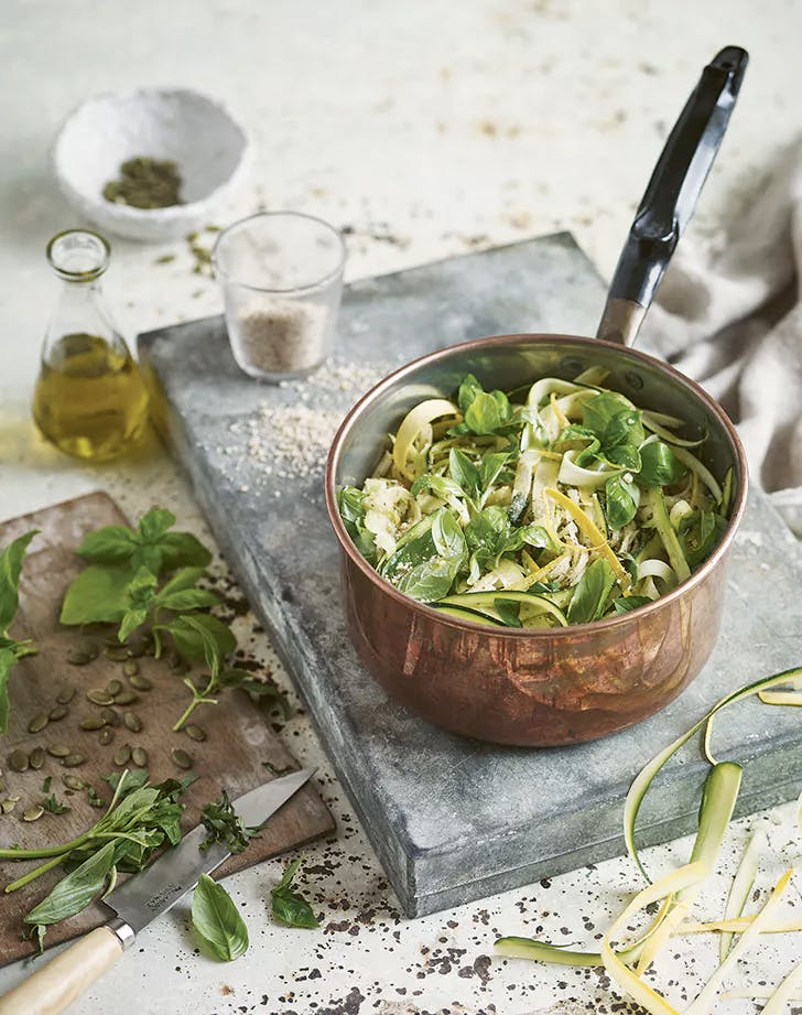 vegan kids recipes pesto parmesan spaghetti with zucchini