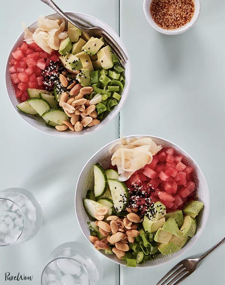 vegan kids recipes watermelon poke bowls