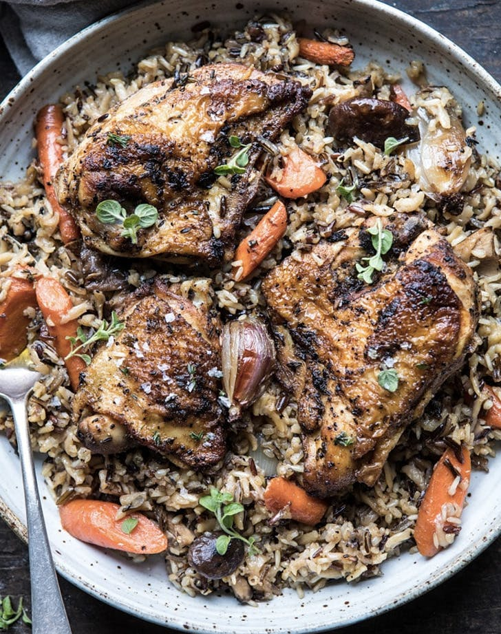 fall chicken recipes slow cooker herbed chicken and rice pilaf recipe