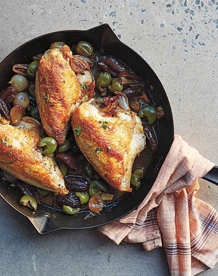 fall chicken recipes pan roasted chicken with shallots and dates recipe