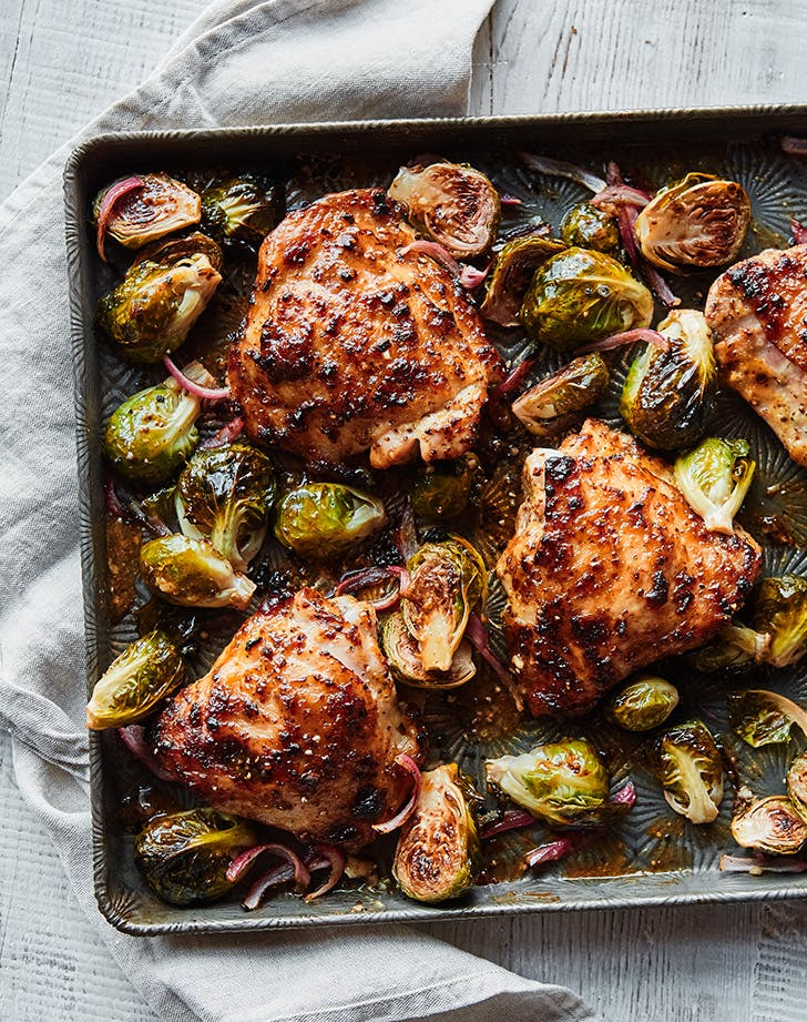 Honey Mustard Sheet-Pan Chicken with Brussels Sprouts