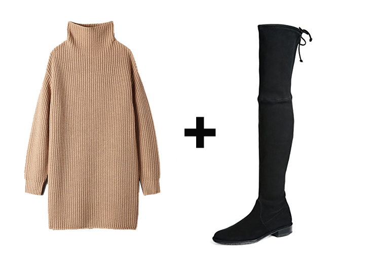 sweater dress with short booties