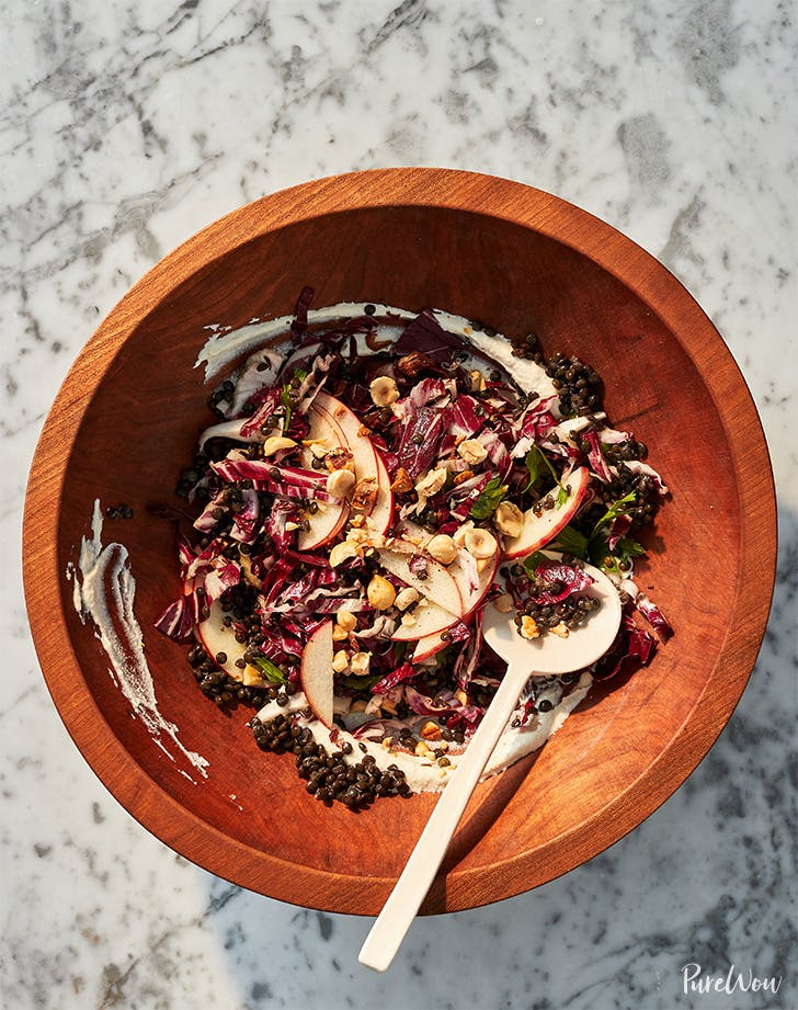Radicchio, Lentil and Apple Salad with Vegan Cashew Dressing