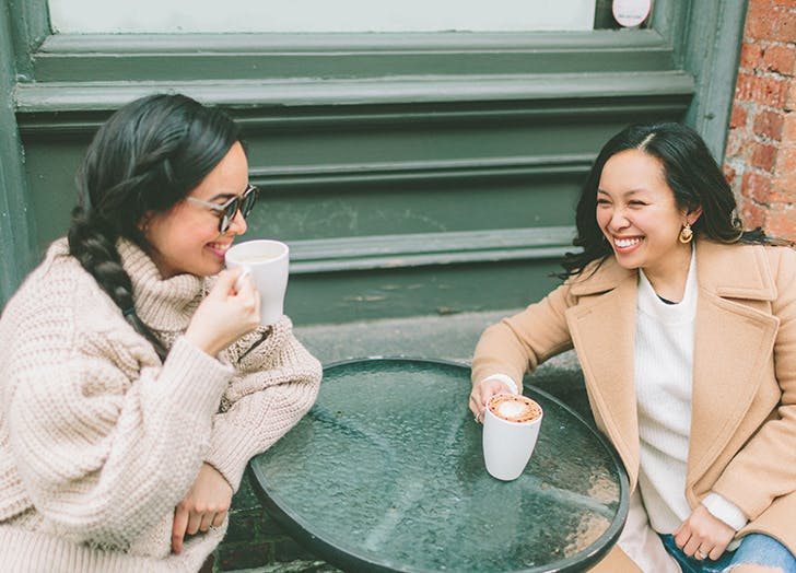woman out for coffee with friend