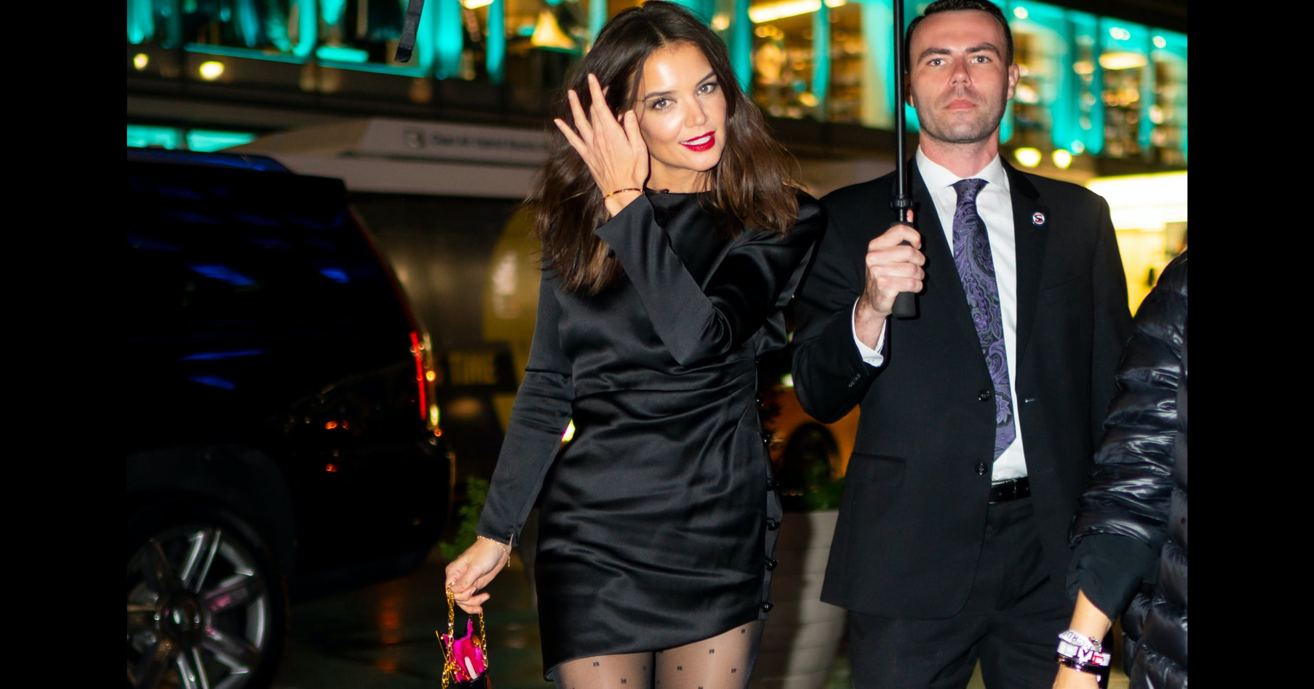 Katie Holmes Proves Polka-Dot Tights Are the Umph Our LBD Has Been Missing