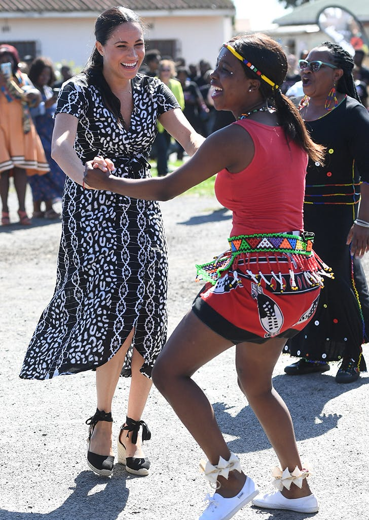 Meghan Markle black and white dress Africa