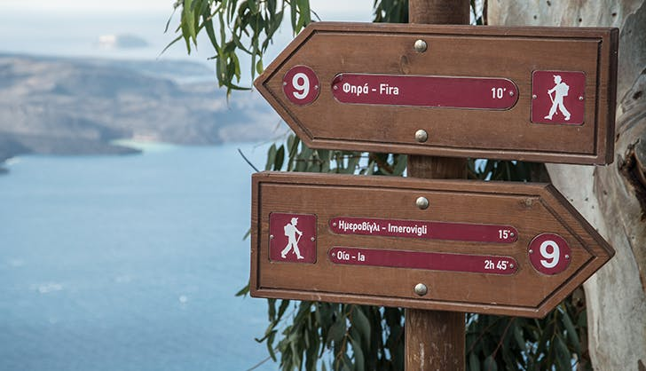 Signpost on Santorini