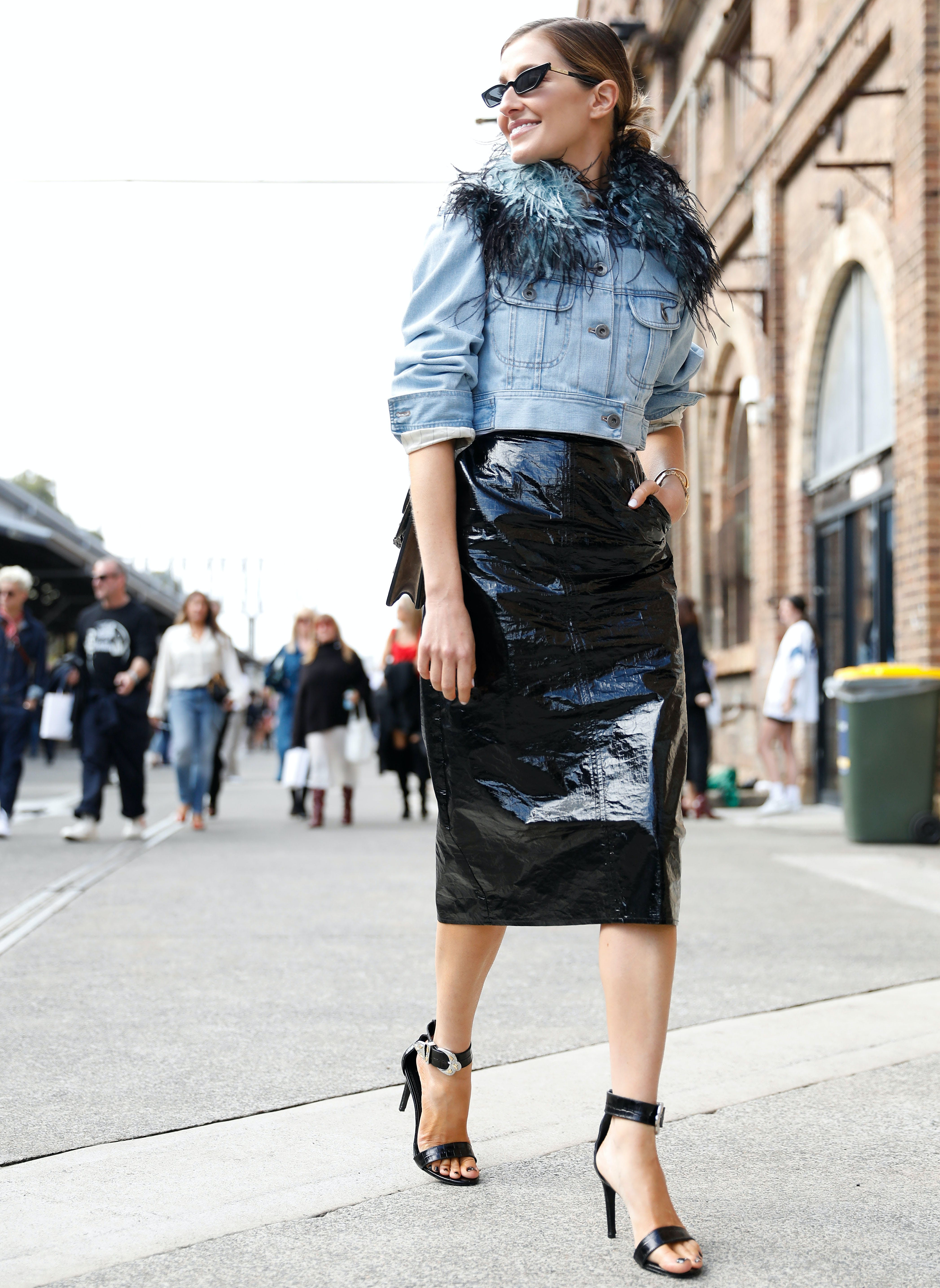 black skirt outfit ideas pencil cropped jacket
