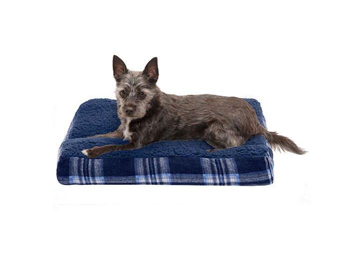 blue plaid dog bed