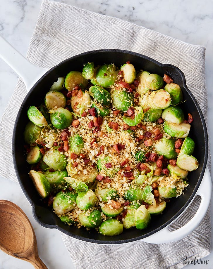 Brussels Sprouts Skillet with Crispy Pancetta-Garlic Bread Crumbs