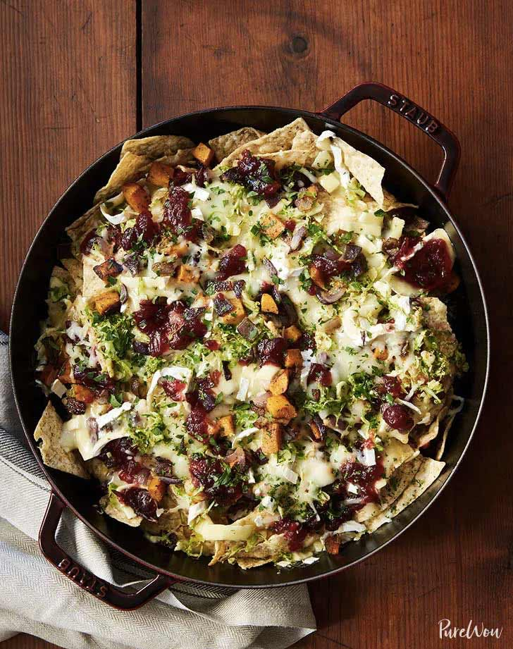 easy thanksgving recipes cranberry brussels sprouts brie skillet nachos