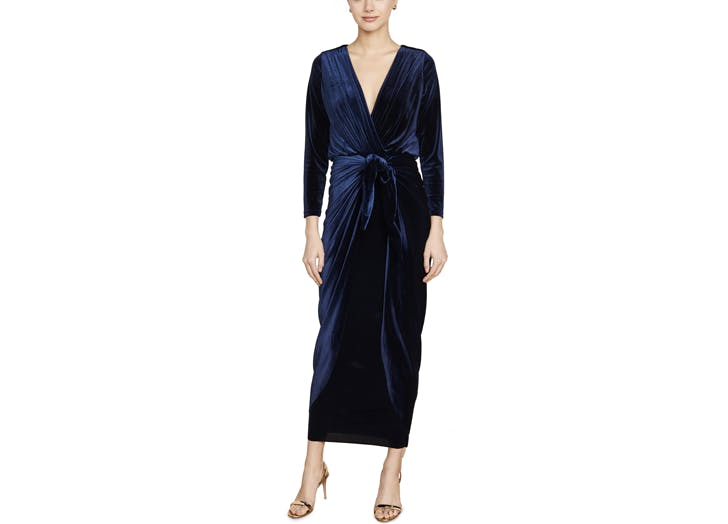 misa velvet long sleeve winter wedding guest dress