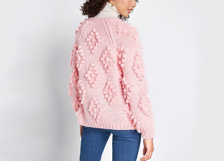 mod cloth pom pom cardigan