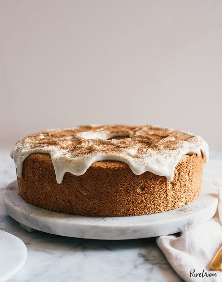 Pumpkin Angel Food Cake with Cream Cheese Glaze