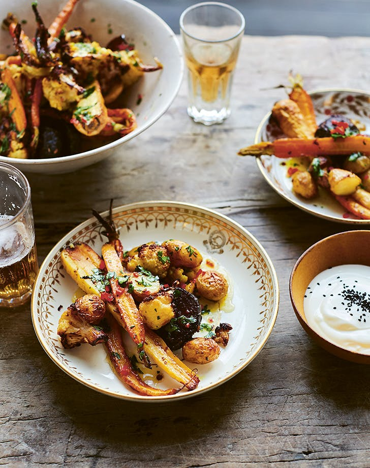 Roasted Indian-Spiced Vegetables with Lime-Cilantro Butter