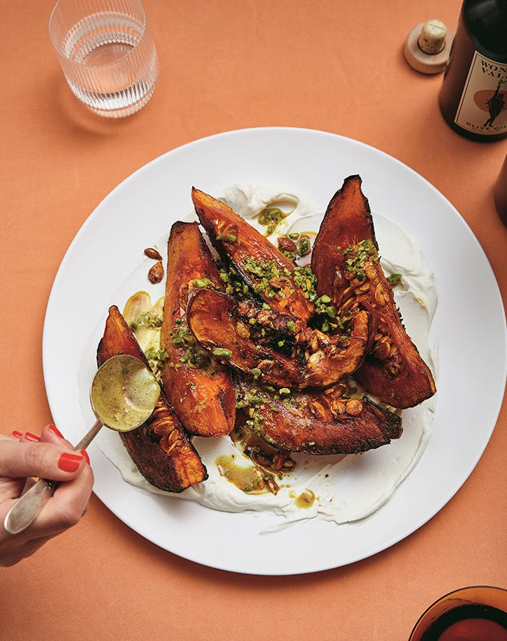 Alison Roman's Roasted Squash with Yogurt and Spiced Buttered Pistachios