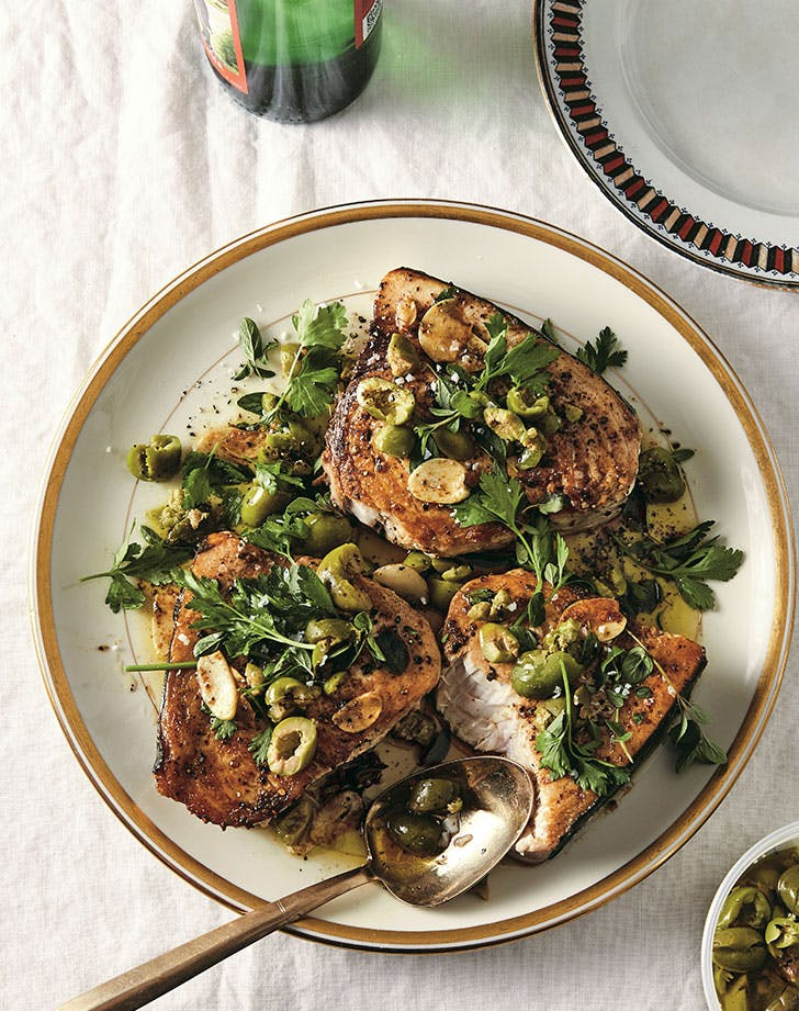 Alison Roman's Swordfish with Crushed Olives and Oregano