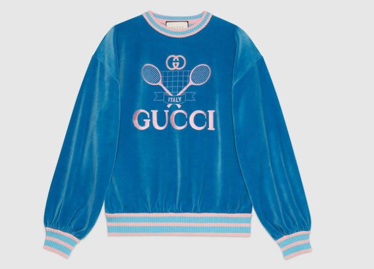 tennis fashion gucci blue sweatshirt