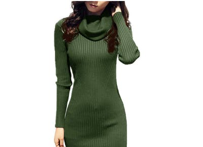 v28 women cowl neck sweater dress1