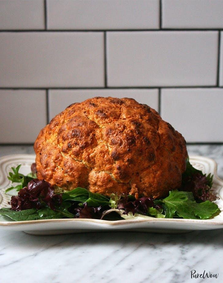 vegetarian thanksgiving recipes Spicy Whole Roasted Cauliflower Recipe