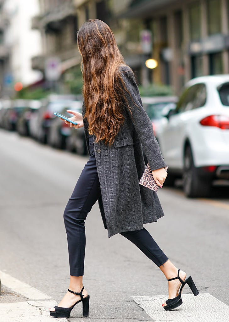 woman wearing platform sandals