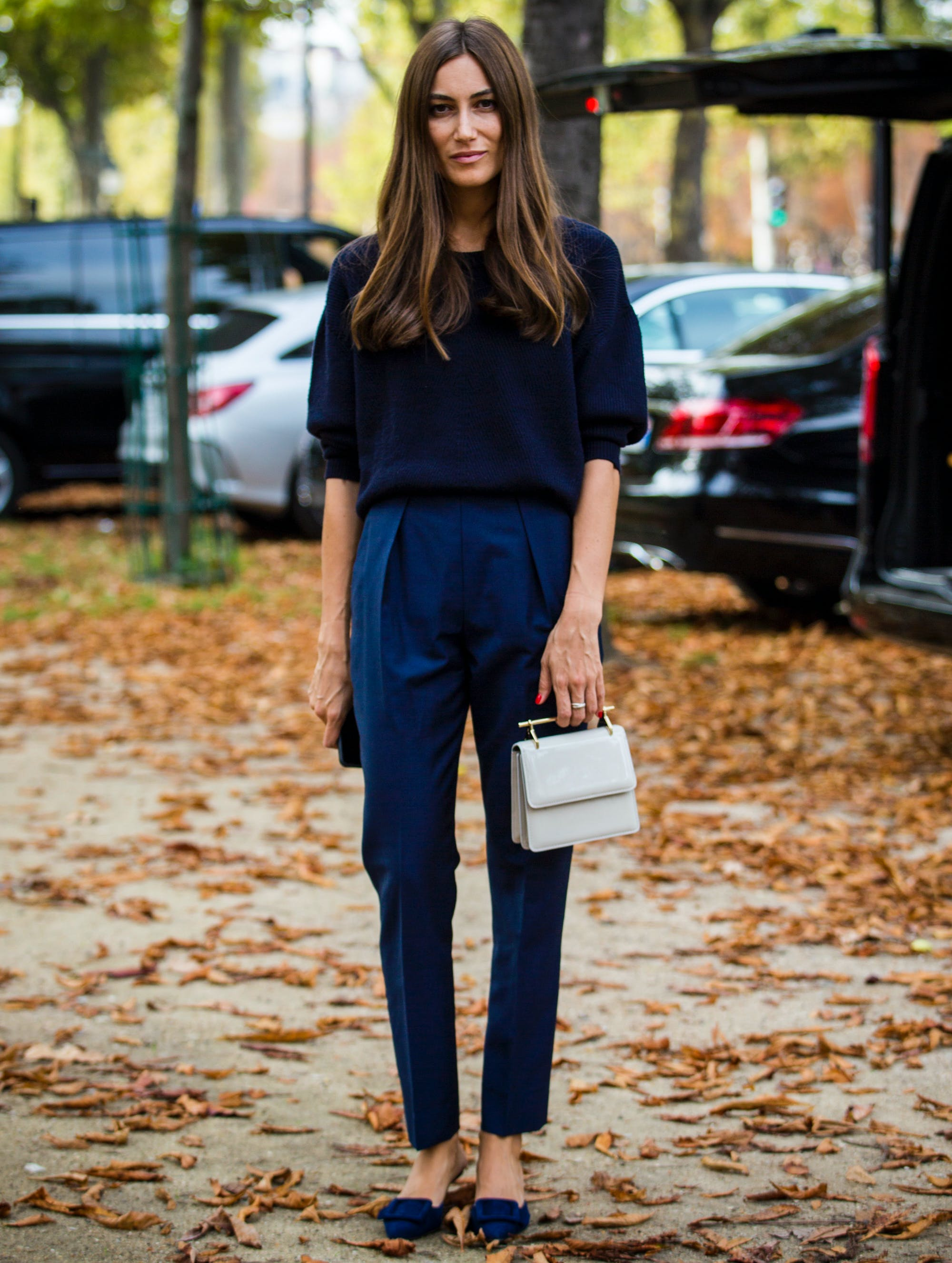 woman wearing all navy
