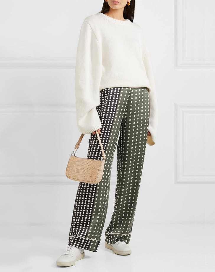 1. Asceno Polka Dot Silk Satin Pajamas Pants