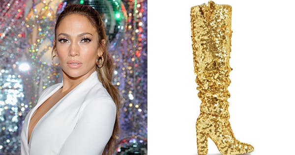 You Can Now Buy J.Lo's Custom Gold Sequin Stuart Weitzman Boots & They're Incredible