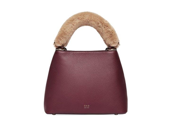 OAD Nora Faux Fur Trim Leather Shoulder Bag