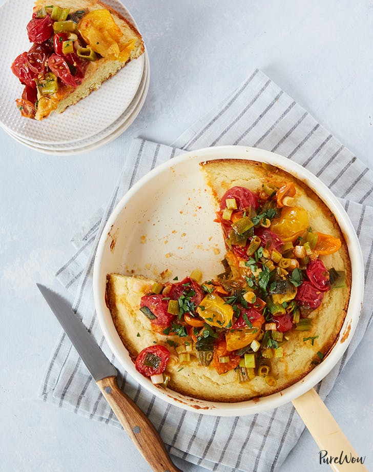 Buttermilk Skillet Cornbread with Tomatoes and Scallions