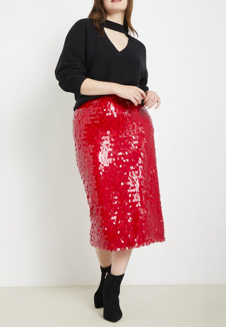 eloquii red sequin skirt