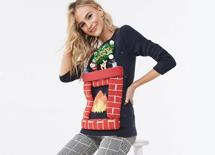 forever21 fireplace light up christmas sweater
