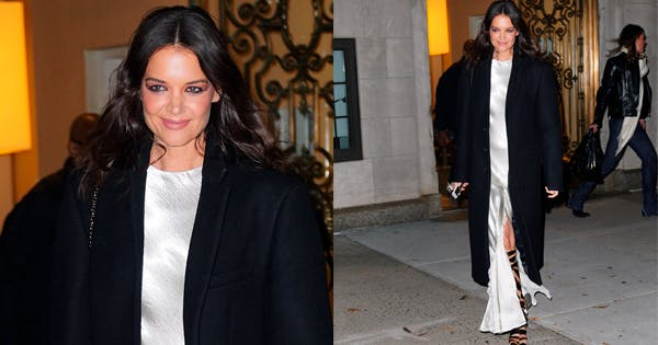 Katie Holmes Makes a Statement in Silver Dress Animal Print Boots