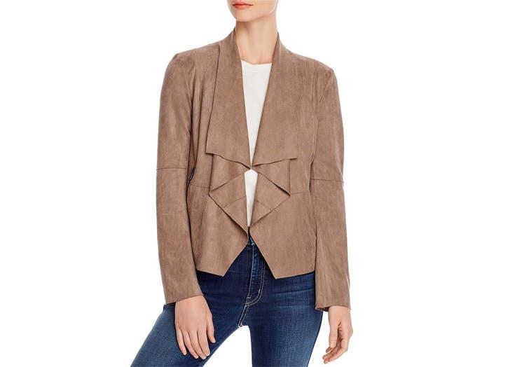 lightweight jackets bagaette faux suede drape front jacket