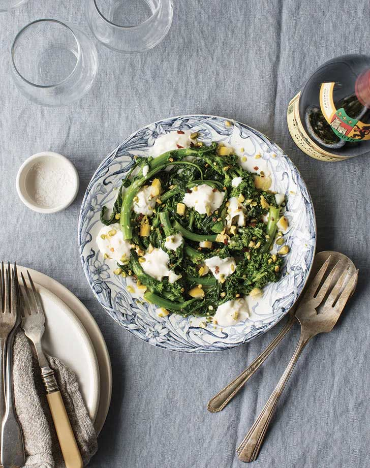 thanksgiving vegetables broccoli rabe and burrata