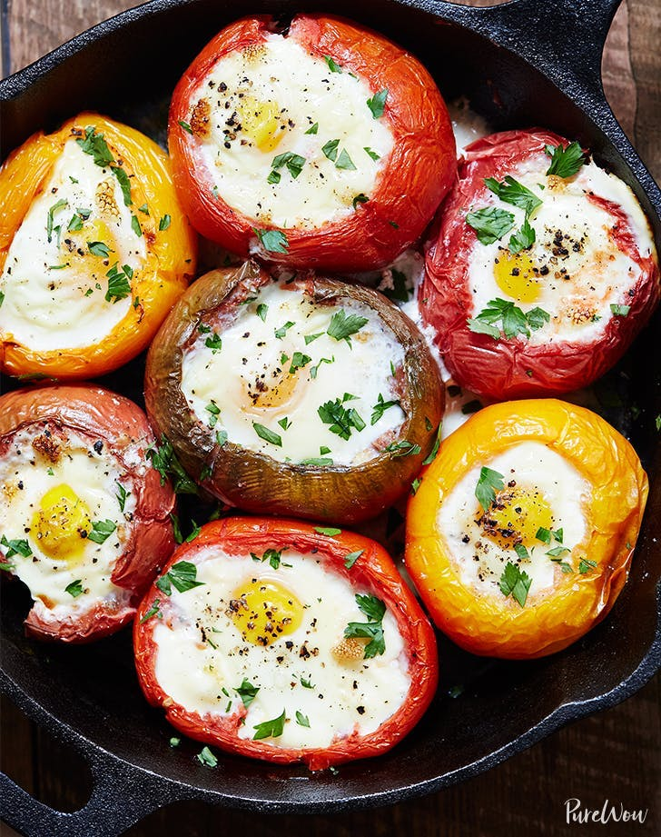 vegetables for breakfast Eggs Baked In Tomatoes Recipe