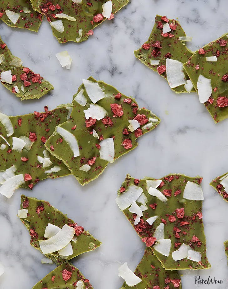 Matcha White Chocolate Bark with Berries and Coconut