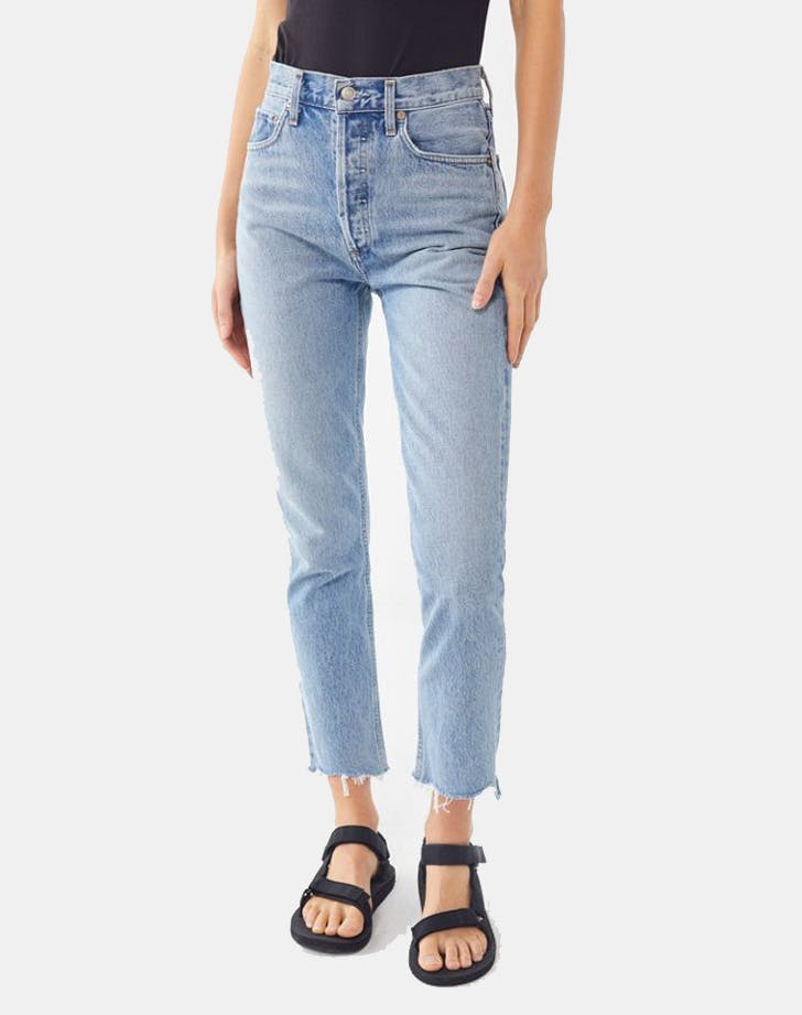 agolde riley cropped straight leg jean