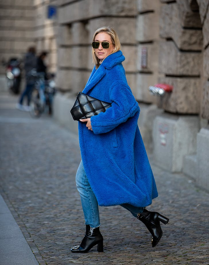 blue outfit teddy coat