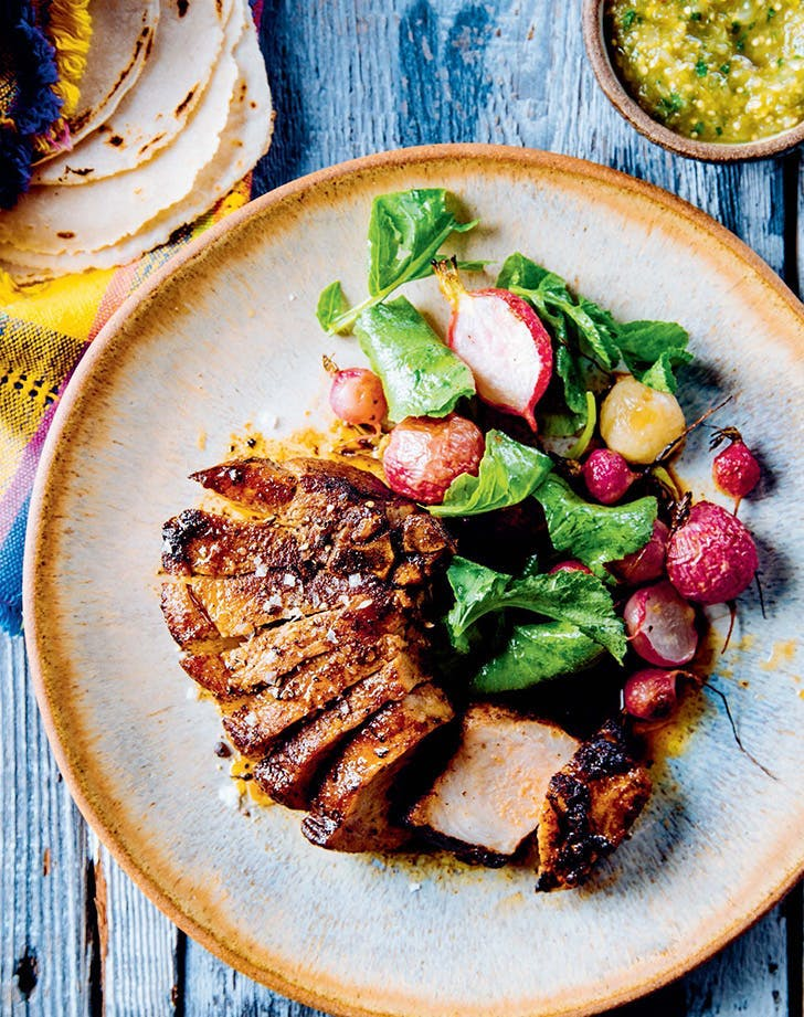 high protein meals cast iron pork chop with cacao spiced rub recipe