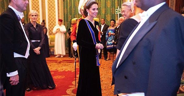 Kate Middleton Stuns in a Navy Velvet Gown by Her Favorite Designer, Alexander McQueen