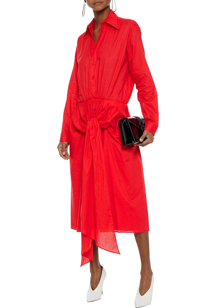 tome red shirt dress