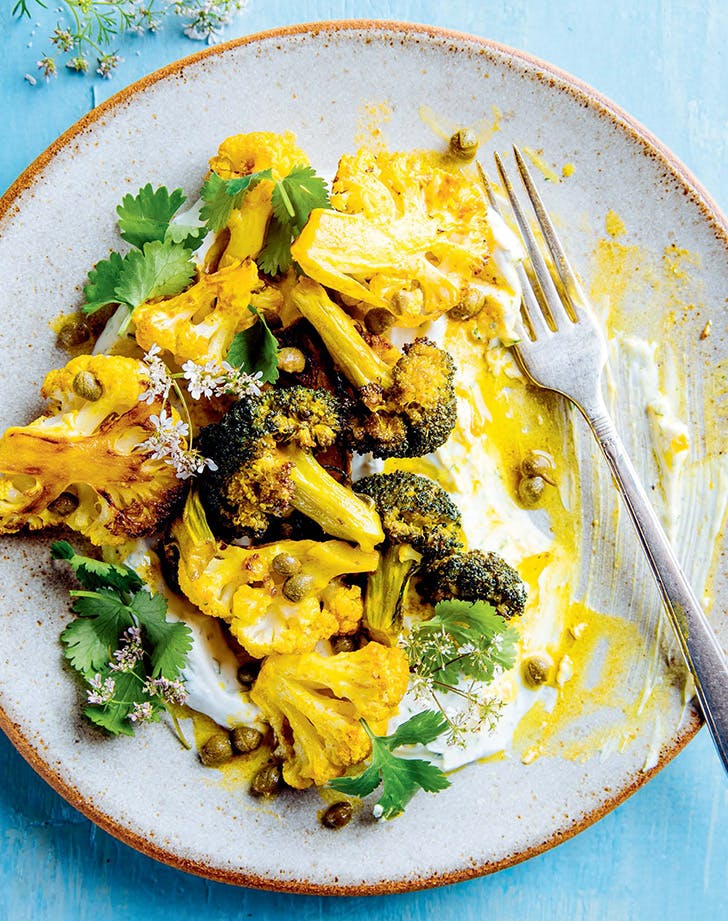 Turmeric-Spiced Cauliflower and Broccoli with Capers