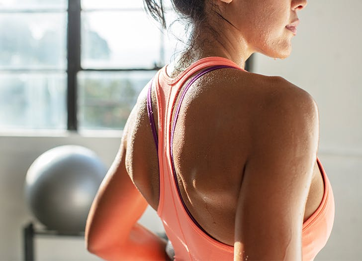 woman sweating after a workout