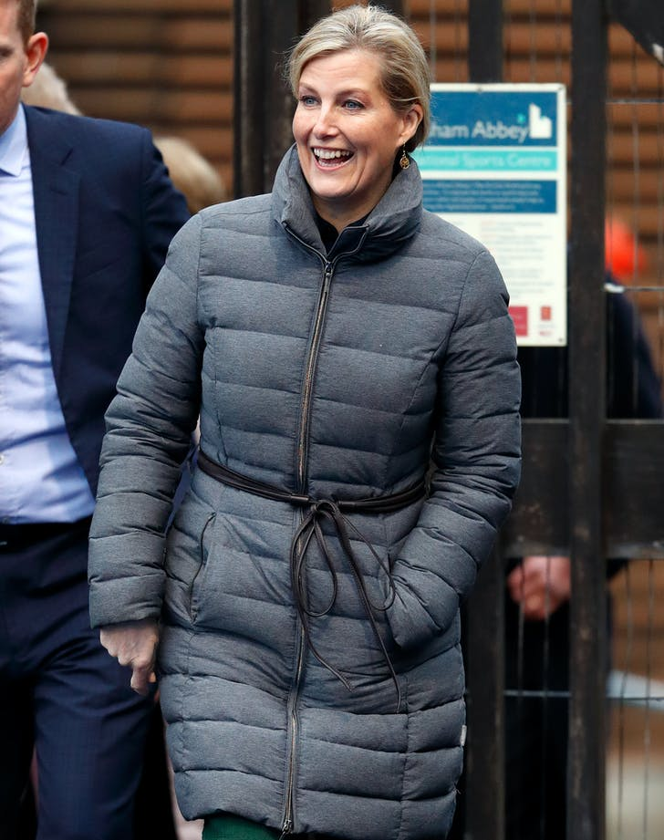 Sophie Countess of Wessex in a puffer coat.l