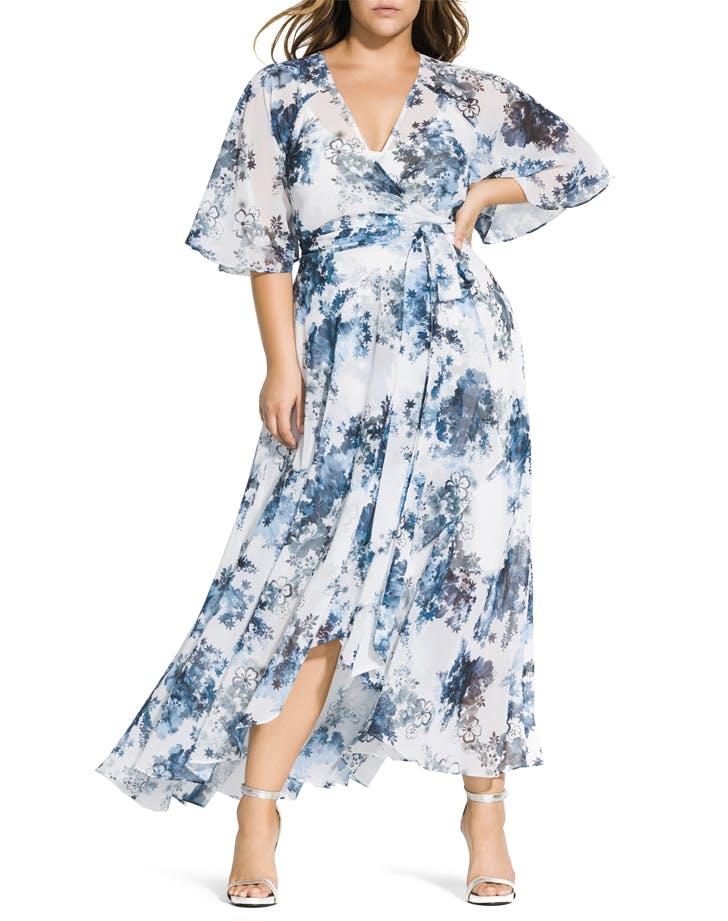 best dresses for big boobs Kenji Floral Wrap Maxi Dress CITY CHIC