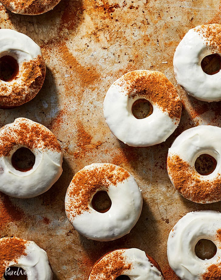 Carrot Cake Doughnuts with Cream Cheese Glaze
