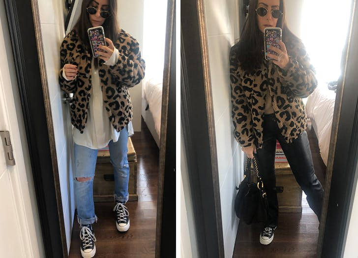 dena wears fun leopard clothes